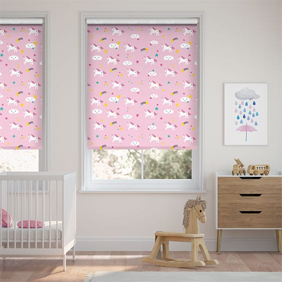 Unicorn Dreams Pink Blackout Roller Blind