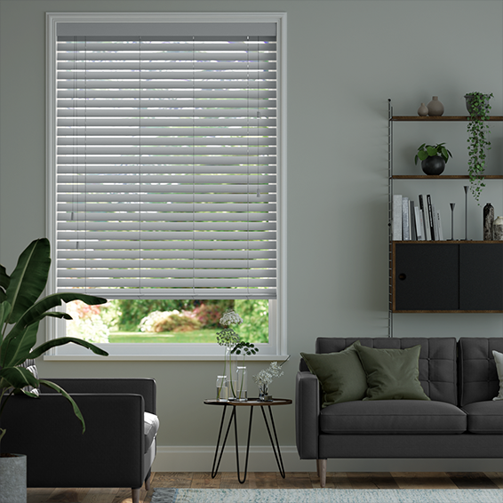 Urban Grey Faux Wood Blind - 50mm Slat
