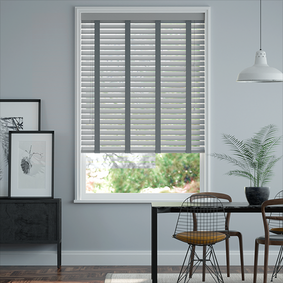 6e2e8a63cb40b Urban Grey & Anthracite Faux Wood Blind - 50mm Slat. from £12.38