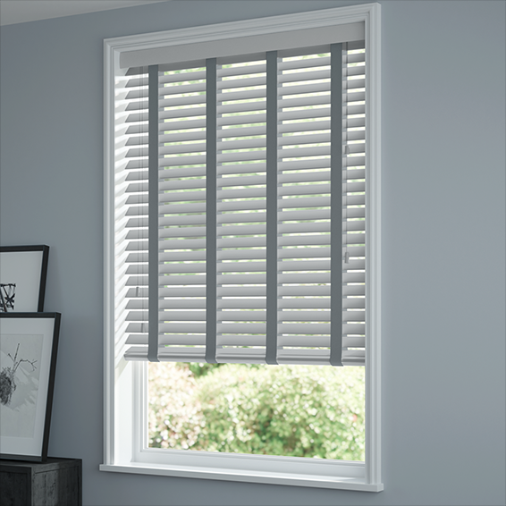 e77aa10c80d86 Urban Grey & Anthracite Faux Wood Blind - 50mm Slat
