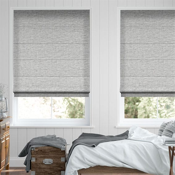 Plush Chenille Soft Grey Roman Blind