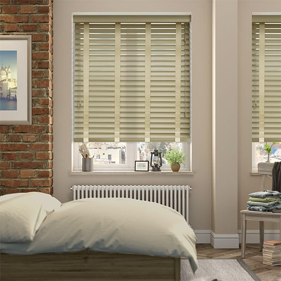 Vetiver Grey & Ecru Wooden Blind with Tapes - 50mm Slat