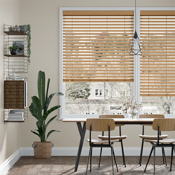 Warm Maple Faux Wood Blind - 50mm Slat