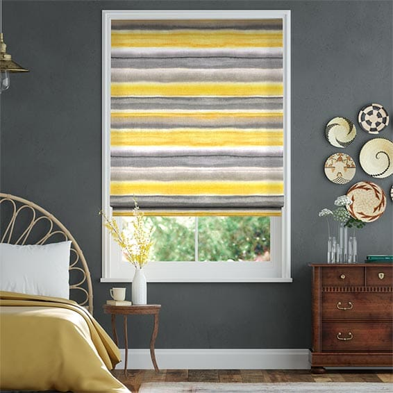 Watercolour Stripe Ochre Roman Blind
