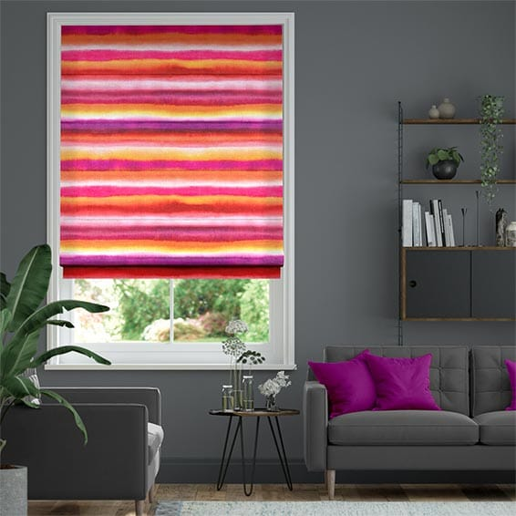 Watercolour Stripe Sunset Roman Blind