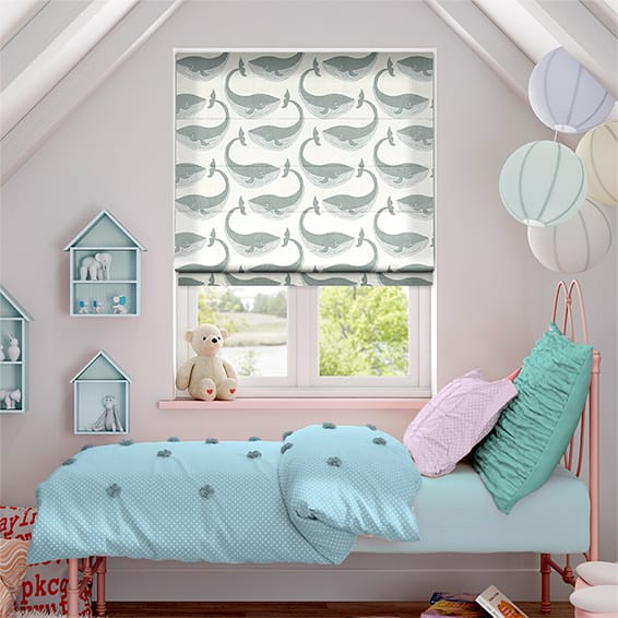 Whale of a Time Slate Roman Blind
