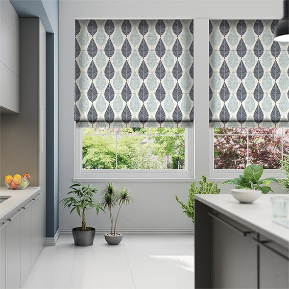 Winter Leaf Linen Gentle Blue Roman Blind