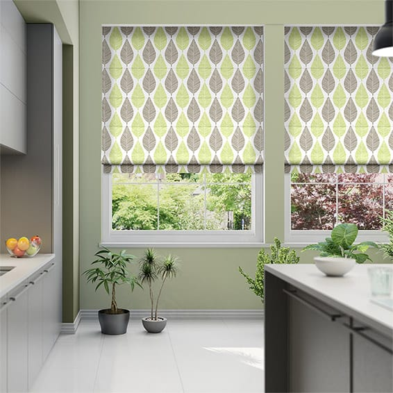 Winter Leaf Spring Green Roman Blind