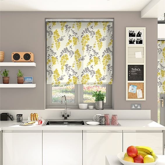 Wisteria Blossom Charcoal Roller Blind