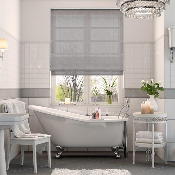 Woven Voile Pewter Roman Blind - Roman blind bathroom